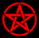 Red circle and pentagram on a black background